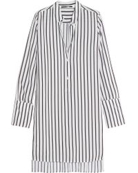 McQ White Striped Piqué Shirt Dress