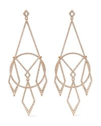 Diane Kordas Metallic 18-karat Rose Gold Diamond Earrings