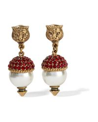 Gucci | Metallic Gold-plated, Crystal And Faux Pearl Clip Earrings | Lyst