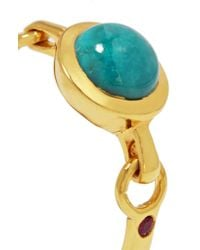 Scosha - Metallic Rio Gold-plated, Turquoise And Ruby Ring - Lyst
