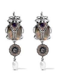 Alexander McQueen   Metallic Silver-tone Multi-stone Earrings   Lyst