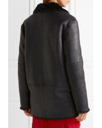 JOSEPH Blue Ringo Double-breasted Shearling Coat