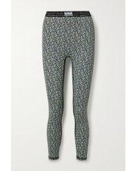 Adam Selman Sport Blue Bonded Velvet-trimmed Floral-print Stretch Leggings