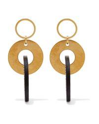Marni   Metallic Gold-tone And Leather Earrings   Lyst