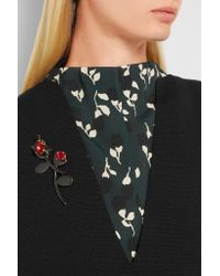 Marni - Black Gold-plated, Enamel And Crystal Brooch - Lyst