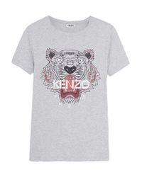 KENZO | Gray Printed Cotton-jersey T-shirt | Lyst