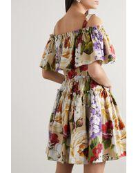 Dolce & Gabbana Natural Schulterfreies Minikleid Aus Baumwollpopeline Mit Blumenprint