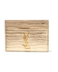 Saint Laurent - Monogramme Metallic Croc-effect Leather Cardholder - Lyst