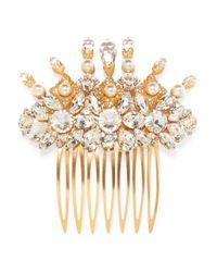 Dolce & Gabbana - Metallic Gold-tone, Swarovski Crystal And Faux Pearl Hair Slide - Lyst