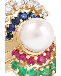 Yvonne Léon | Metallic Set Of Five 18-karat Gold Multi-stone Rings | Lyst