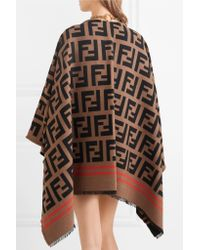 Fendi - Multicolor Wool And Silk-blend Jacquard Poncho - Lyst