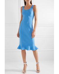Michael Kors Blue Ruffled Stretch-wool Crepe Dress