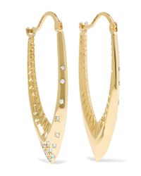 Venyx | Metallic 18-karat Gold Diamond Hoop Earrings | Lyst