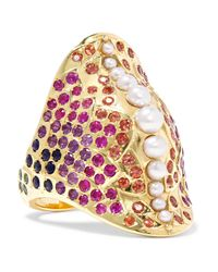 Venyx - Metallic 18-karat Gold Multi-stone Ring - Lyst