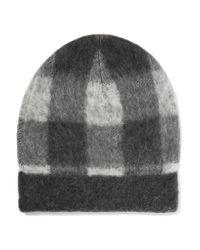 Balenciaga - Gray Checked Knitted Beanie - Lyst