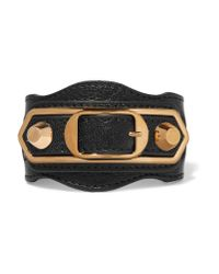 Balenciaga | Black Metallic Edge Textured-leather And Gold-tone Bracelet | Lyst