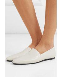 The Row White Minimal Loafers Aus Leder