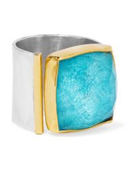 Katerina Makriyianni - Metallic Silver, Gold-plated And Turquoise Ring - Lyst