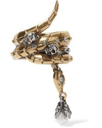 Alexander McQueen | Metallic Gold-tone, Swarovski Crystal And Pearl Ring | Lyst