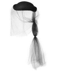 Gucci - Black Veil Detail Hat - Lyst