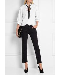 See By Chloé - Black Velvet-trimmed Cotton-jersey Blouse - Lyst