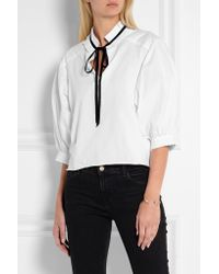 See By Chloé - Black Velvet-trimmed Cotton-jersey Blouse - Lyst