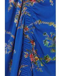 Jupe Midi En Crêpe Stretch À Imprimé Fleuri Et À Fronces Tracy Preen By Thornton Bregazzi en coloris Blue