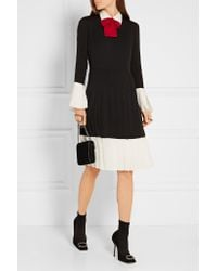 Gucci Black Pussy-bow Pleated Silk Crepe De Chine Dress