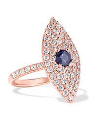 Anita Ko - Multicolor Evil Eye 18-karat Rose Gold, Diamond And Sapphire Ring - Lyst