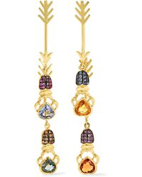 Daniela Villegas | Metallic Double Arrow 18-karat Gold Multi-stone Earrings | Lyst