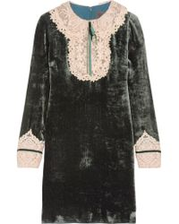 Anna Sui Natural Crocheted Lace-trimmed Velvet Mini Dress