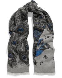Alexander McQueen - Gray Metallic Wool-blend Jacquard Scarf - Lyst