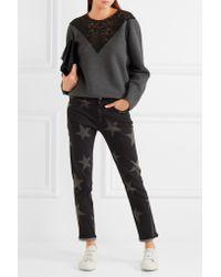 Stella McCartney Gray Lace-paneled Cotton-blend Jersey Sweatshirt