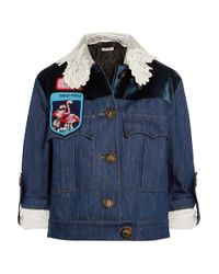 Miu Miu | Blue Embellished Velvet-paneled Denim Jacket | Lyst