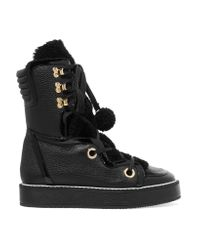 Nicholas Kirkwood - Black Kira Shearling-trimmed Textured-leather Boots - Lyst