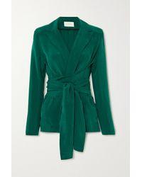 Matériel Green Belted Cupro Blazer