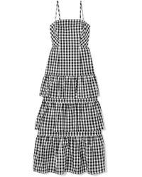 J.Crew - Black Dabble Tiered Gingham Cotton-poplin Midi Dress - Lyst