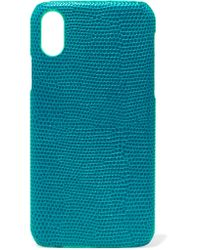 The Case Factory Blue Lizard-effect Leather Iphone X Case