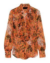 J.Crew - Orange Collection Ruffled Printed Silk-chiffon Blouse - Lyst