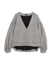 Tom Ford Gray Herringbone Wool And Cashmere-blend Tweed Top