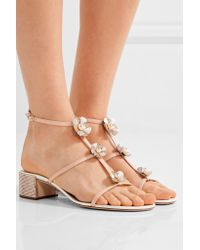 Rene Caovilla Multicolor Embellished Leather Sandals