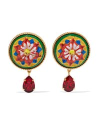 Dolce & Gabbana - Red Gold-tone, Resin And Crystal Clip Earrings - Lyst