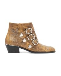 Chloé   Brown Susanna Studded Watersnake Ankle Boots   Lyst