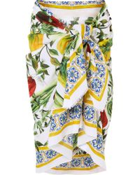 Dolce & Gabbana Green Printed Cotton-voile Pareo