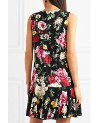 Dolce & Gabbana - Black Ruffled Floral-print Cady Mini Dress - Lyst