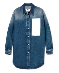 MM6 by Maison Martin Margiela - Blue Paneled Denim Shirt - Lyst