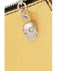 Alexander McQueen Metallic Textured-leather Cardholder