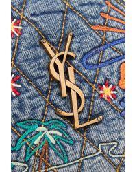 Saint Laurent Blue Lou Gesteppte Schultertasche Aus Denim Mit Lederbesatz Und Stickereien