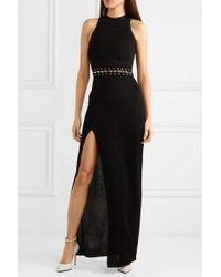 Balmain Black Embellished Stretch-knit Maxi Dress
