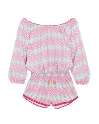 Paloma Blue Pink Hamptons Printed Silk-satin Playsuit